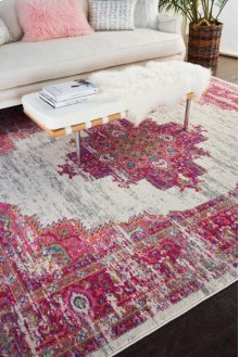 Passion Psn03 Ivory/fuchsia Rectangle Rug 1'10'' X 2'10''