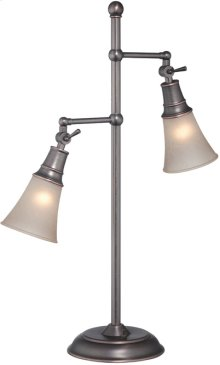2-lite Table LAMP,ANT.COPPER/L.AMB Gls Shade, E27 Cfl 13wx2