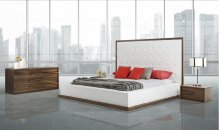 Modrest Beth Modern Walnut with White Leatherette Bedroom Set