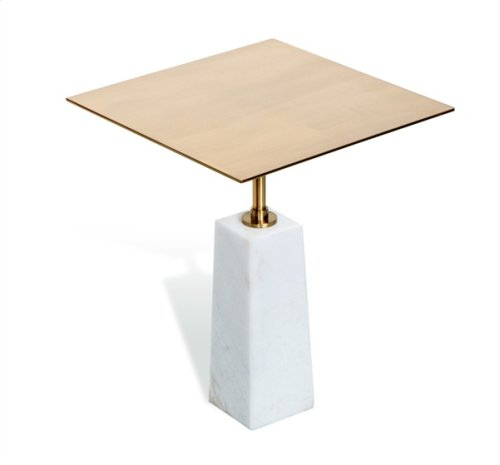 Beck Square Side Table - White/ Antique Brass