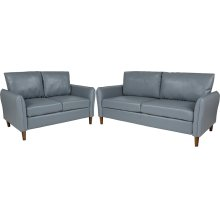 Milton Park Upholstered Plush Pillow Back Loveseat and Sofa Set in Gray Leather