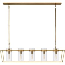 Visual Comfort S5177HAB-CG Ian K. Fowler Presidio 5 Light 54 inch Hand-Rubbed Antique Brass Linear Lantern Ceiling Light
