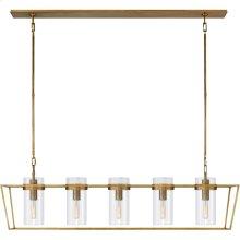 Visual Comfort S5177HAB-CG Ian K. Fowler Presidio 5 Light 54 inch Hand-Rubbed Antique Brass Linear Lantern Ceiling Light