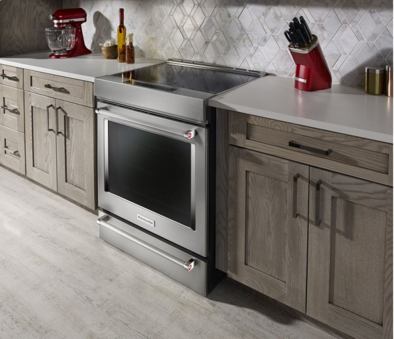 30 Inch 4 Element Induction Slide In Convection Range With Baking Drawer