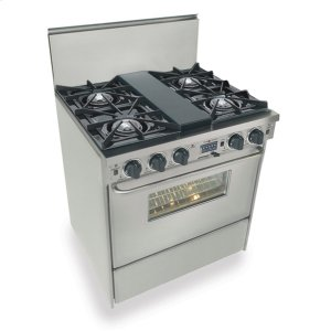 "Five Star30"" Dual Fuel, Convect, Self Clean, Open Burners, Stainless Steel"