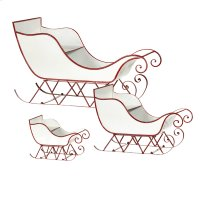 Red & White Enamel Sleigh. (3 pc. set) Product Image