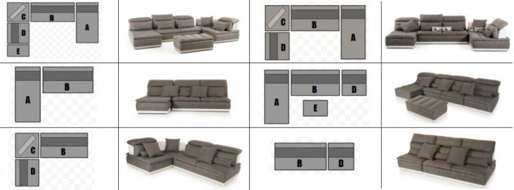 Beau Additional David Ferrari Panorama Italian Modern Grey Fabric U0026 White  Leather Configurable Sectional Sofa