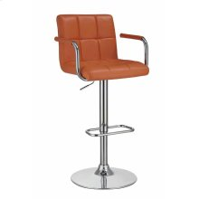 Contemporary Pumpkin and Chrome Adjustable Bar Stool With Arms