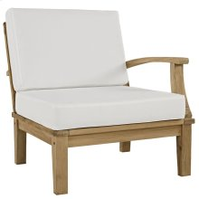 Marina Outdoor Patio Premium Grade A Teak Wood Left-Facing Sofa in Natural White