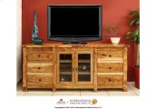 """72"""" TV Stand w/2 Glass doors, 6 drawers"""