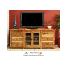 "72"" TV Stand w/2 Glass doors, 6 drawers"