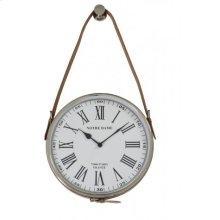Clock 30 cm NOTRE DAME nickel leather brown