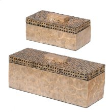 S/2 MDF BOX WITH CAPIZSHELL