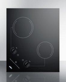 2-burner 230v Electric Cooktop Designed for Portrait or Landscape Installation, With Smooth Black Ceramic Glass Surface