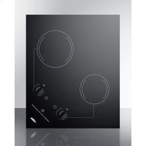 Summit2-burner 230v Electric Cooktop Designed for Portrait or Landscape Installation, With Smooth Black Ceramic Glass Surface