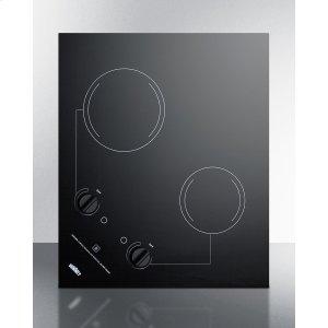 2-burner 230v Electric Cooktop Designed for Portrait or Landscape Installation, With Smooth Black Ceramic Glass Surface -