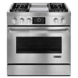 """Jenn-AirJenn-Air(R) Pro-Style(R) 36"""" Dual-Fuel Range with Griddle and MultiMode(R) Convection - Pro Style Stainless"""