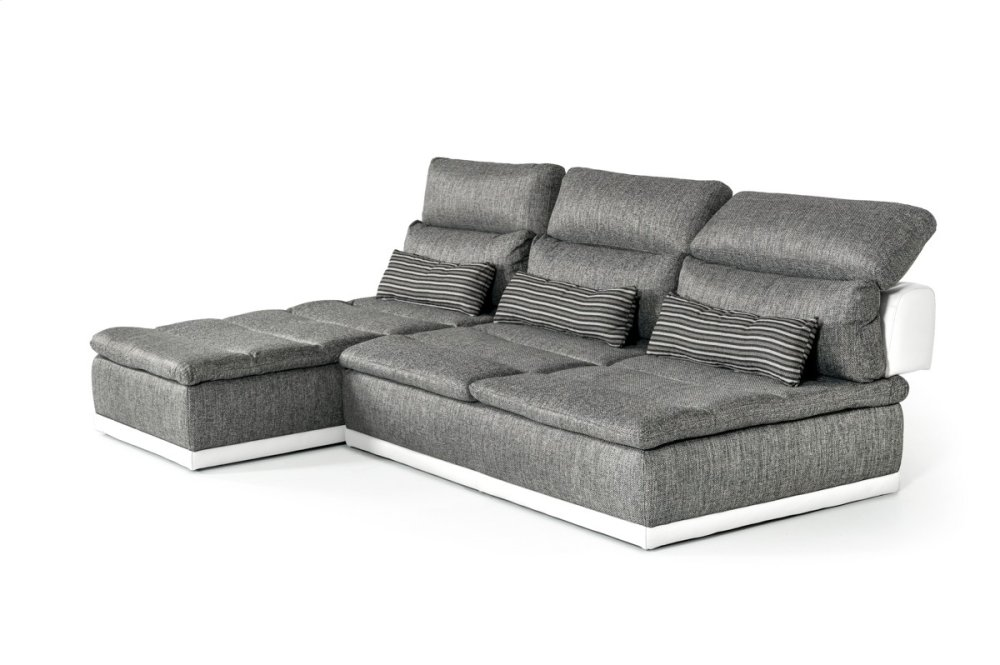 David Ferrari Panorama Italian Modern Grey Fabric U0026 White Leather  Configurable Sectional Sofa