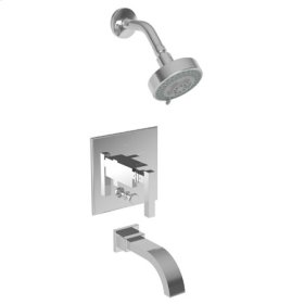 Flat-Black Balanced Pressure Tub & Shower Trim Set