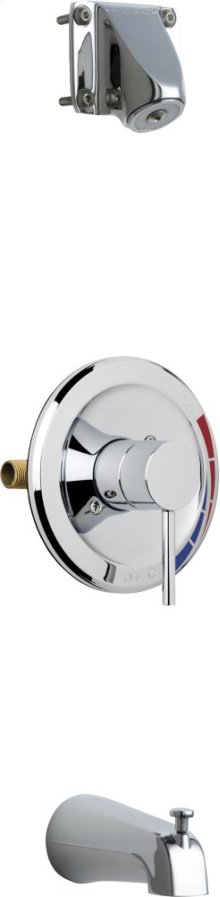 Pressure Balancing Tub and Shower Valve with Shower Head and Diverter Tub Spout