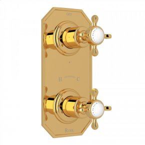 """English Gold Perrin & Rowe Edwardian 1/2"""" Thermostatic/Diverter Control Trim with Edwardian Cross Handle"""
