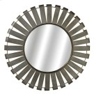 Large Round Galvanized Slat Wall Mirror with Gold Edge. Product Image
