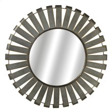 Large Round Galvanized Slat Wall Mirror with Gold Edge.