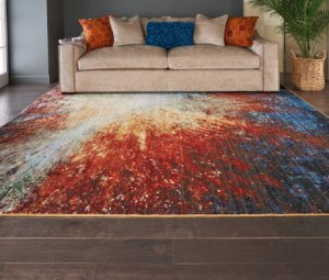 Chroma Crm02 Red Flare Rectangle Rug 4' X 6'