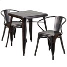 23.75'' Square Black-Antique Gold Metal Indoor-Outdoor Table Set with 2 Arm Chairs Product Image