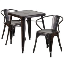 23.75'' Square Black-Antique Gold Metal Indoor-Outdoor Table Set with 2 Arm Chairs