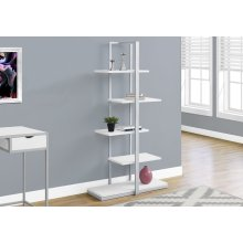 "BOOKCASE - 60""H / WHITE / SILVER METAL"