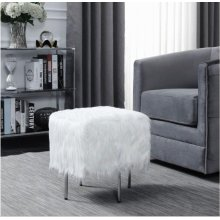 White Faux Sheepskin Ottoman