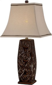 Table Lamp - Coffee Ceramic Body/fabric Shade, E27 A 100w Product Image