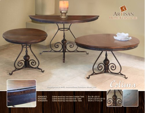 Colima Wood Top / Iron Base End Table
