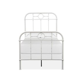 Complete Twin Metal Bed - White