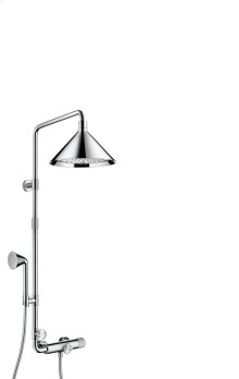 Chrome Showerpipe with thermostat and overhead shower 240 2jet