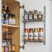 """Door Mount Tray System for Cabinet and Pantry Doors . Organizes Cans, Jars and Packets. Kit Includes 2 pcs of Track 18-1/8"""" Long and 2 Trays that are 11"""" x 3"""" x 3-7/16"""". Retail Packaged. Finish: Chrome"""