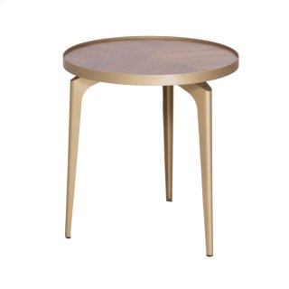 Revel KD End Table Champagne Gold Legs, Walnut