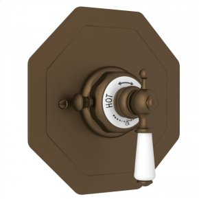 English Bronze Perrin & Rowe Edwardian Octagonal Concealed Thermostatic Trim Without Volume Control with Metal Lever