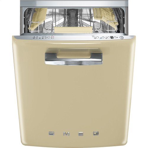 """Approx 24"""" Pre-finished Dishwasher with 50'S Retro Style handle, Cream"""