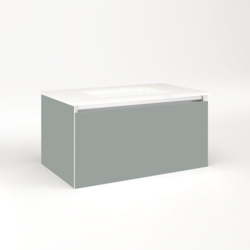 """Cartesian 30-1/8"""" X 15"""" X 18-3/4"""" Slim Drawer Vanity In Matte Gray With Slow-close Plumbing Drawer and Selectable Night Light In 2700k/4000k Temperature (warm/cool Light)"""