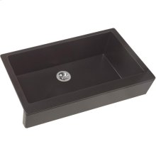 "Elkay Quartz Luxe 35-7/8"" x 20-15/16"" x 9"" Single Bowl Farmhouse Sink with Perfect Drain, Caviar"