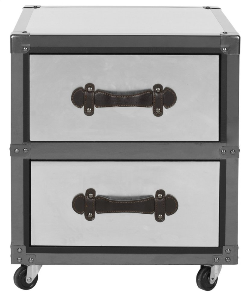 Gage 2 Drawer Rolling Chest / Black-silver - Black / Brown / Silver