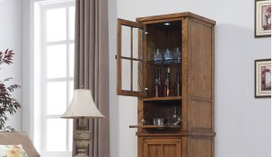 Dakota upper storage cabinet with Arts & Crafts styling features a universa...