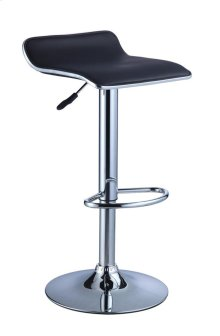 Black Faux Leather / Chrome Thin Seat Adjustable Height Bar Stool - 2 pcs in 1 carton