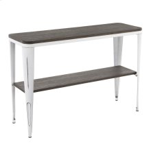 Oregon Console Table - Vintage White Metal, Espresso Bamboo