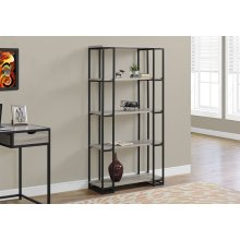 "BOOKCASE - 60""H / DARK TAUPE / BLACK METAL"