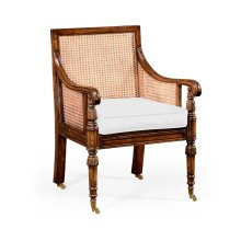 Caned Bergere Chair (Walnut) in Medium Antique Chestnut Leather