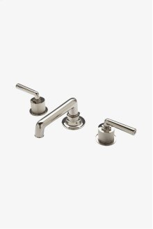 Henry Low Profile Three Hole Deck Mounted Lavatory Faucet with Coin Edge Cylinders and Metal Lever Handles STYLE: HNLS13