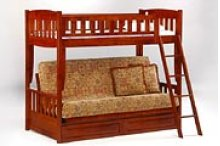 Cinnamon Twin/Futon Bunk in Cherry Finish